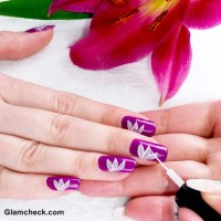 Flower Nail Art DIY Lotus Motif