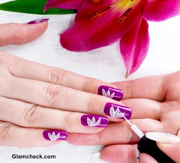 Nail art diy white lotus motif on purple base flower nail art diy lotus motif prinsesfo Gallery