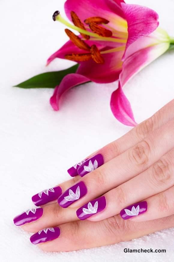 Flower Nail Art DIY White Lotus Motif on Purple Base