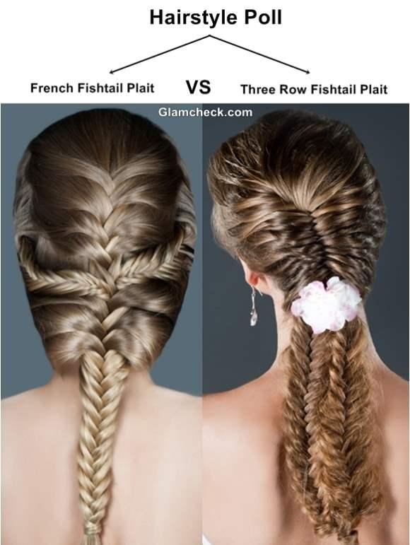 Hairstyle French Fishtail Plait VS Three Row Fishtail Plait