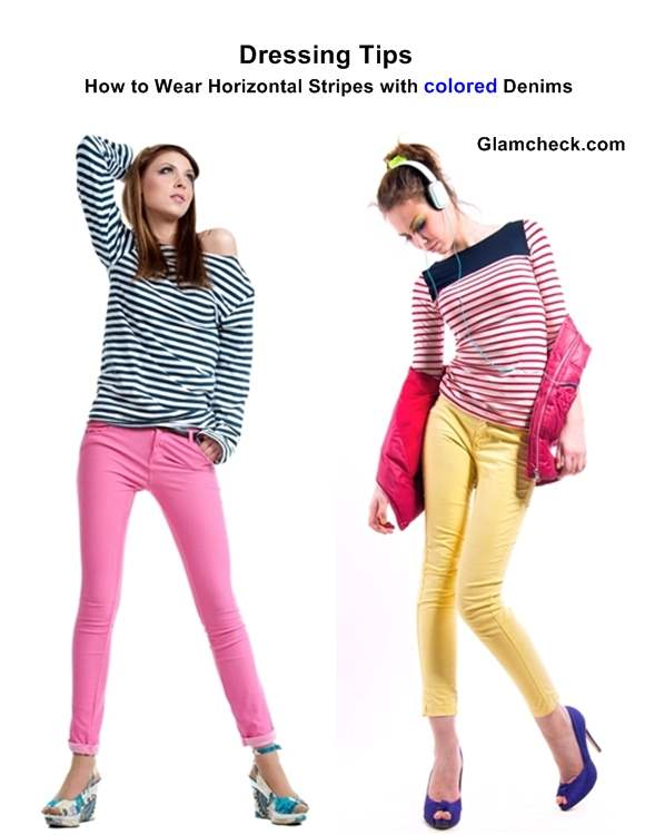 How to Wear Horizontal Stripes with Colored Denims