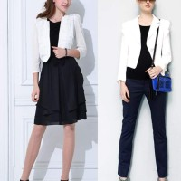 How to wear White Blazer with Black