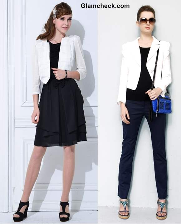 How to wear White Blazer with Black