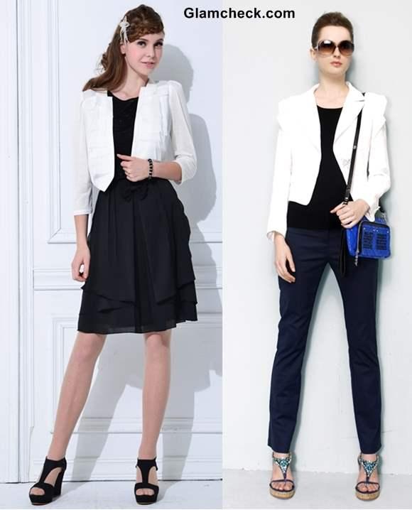80eafe7f012f White Blazer with Black - 2 Ways of Wearing