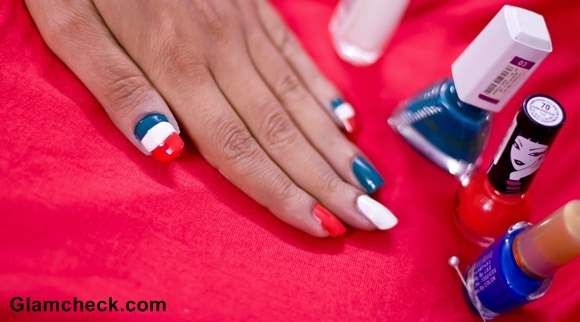 India Independence Day Tri-Color Nail Art