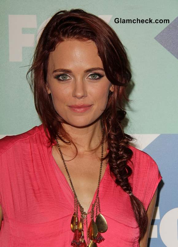 Katia Winter Messy Side Fishtail Plait hairstyle 2013