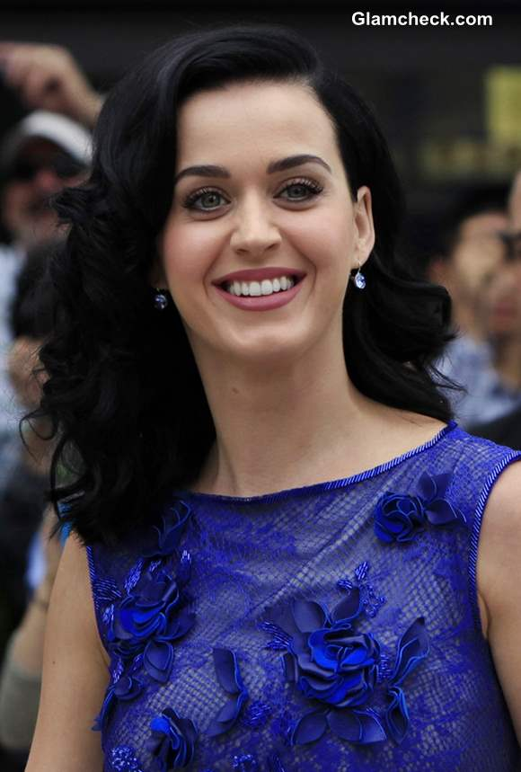Katy Perry 2013 in Blue at Smurfs 2 Premiere