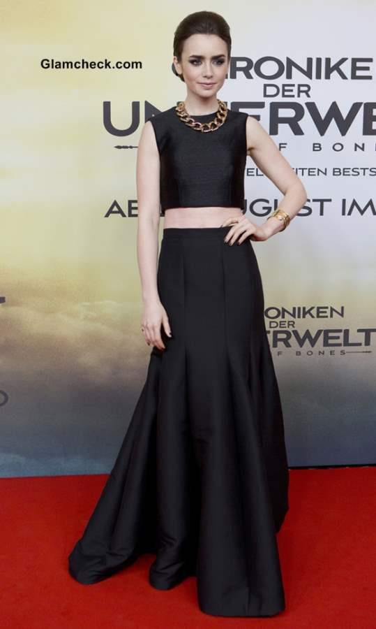 Lilly Collins wears Crop-Top with long black skirt at The Mortal Instruments City of Bones Premiere