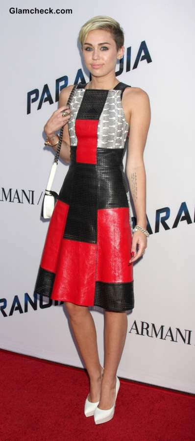 Miley Cyrus in Proenza Schouler Leather Dress at Paranoia Premiere