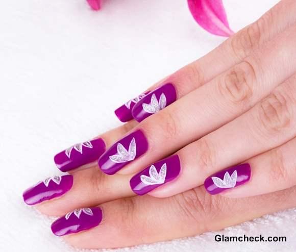 Nail Art DIY White Lotus Motif on Purple Base