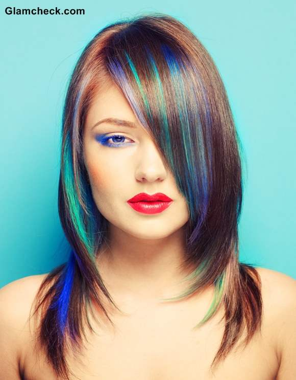 Peacock Inspired Hair Coloring