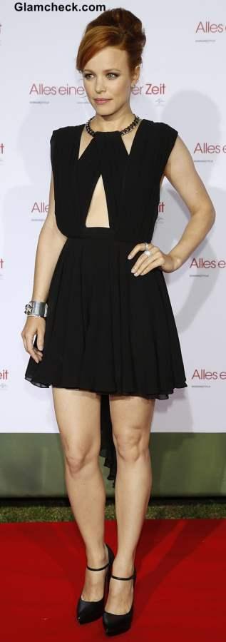 Rachel MacAdams in a black cutout skater dress