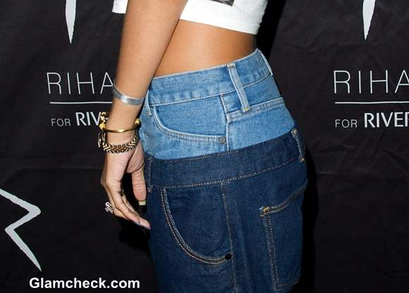 Rihanna Double Denim Pants 2013