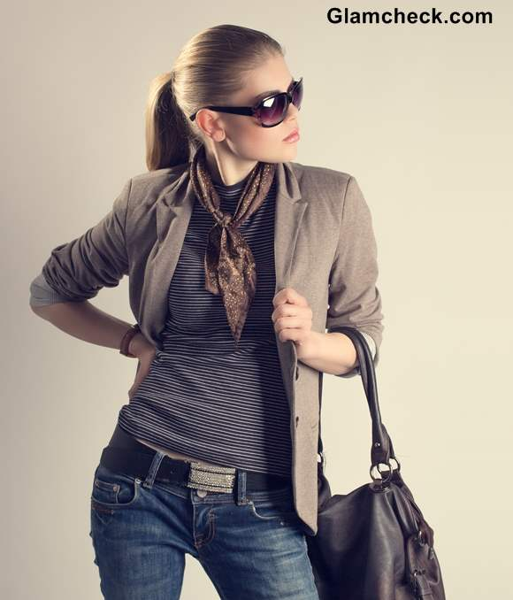 Rock Star Glam in Blue Denims and Brown Jacket