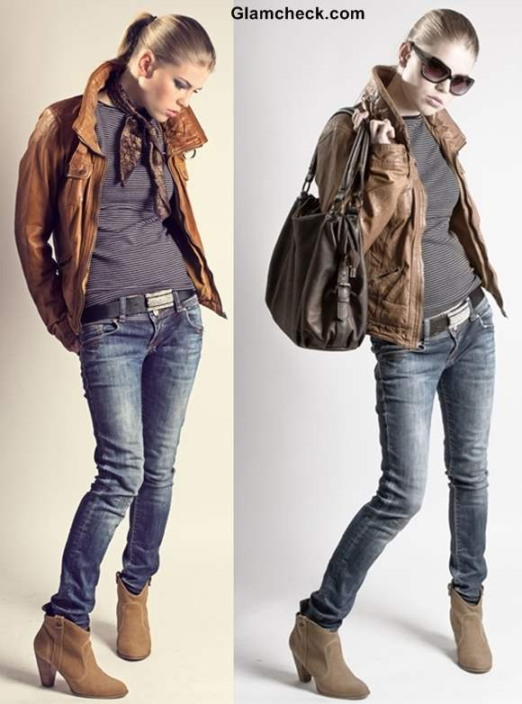 Rock the Look - Rock Star Glam in Blue Denims and Brown Jacket
