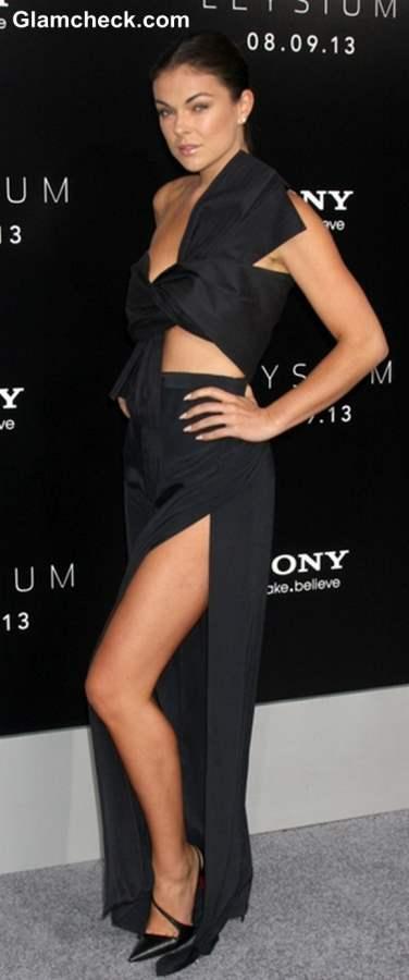 Serinda Swan in a black cutout long dress