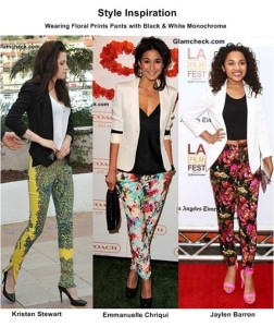 Floral Pants with Monochrome Tops