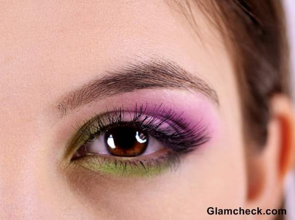 Tropical Eye Makeup purple green How To