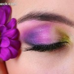 Tropical Eye Makeup tutorial purple green eye shadow