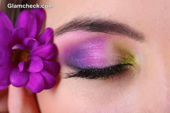 Tropical Eye Makeup tutorial purple green eye shadow