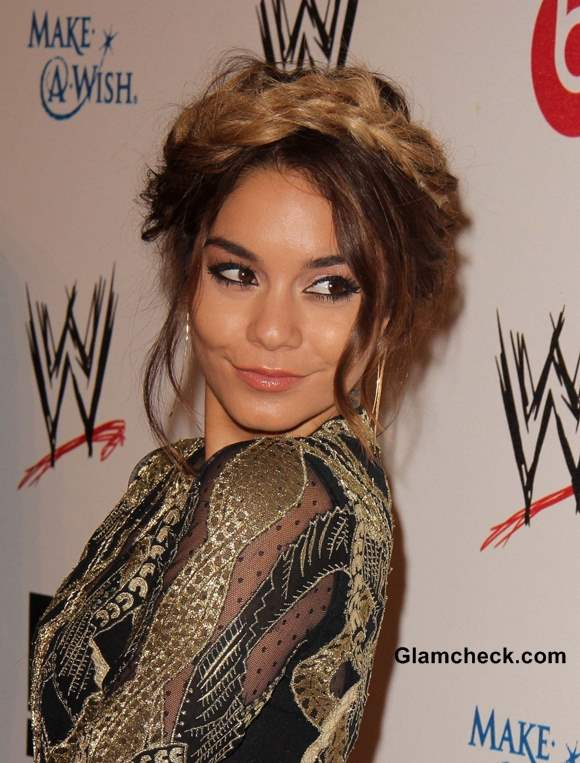 Vanessa Hudgens Dip-dyed Braided Hairstyle at Charity Do