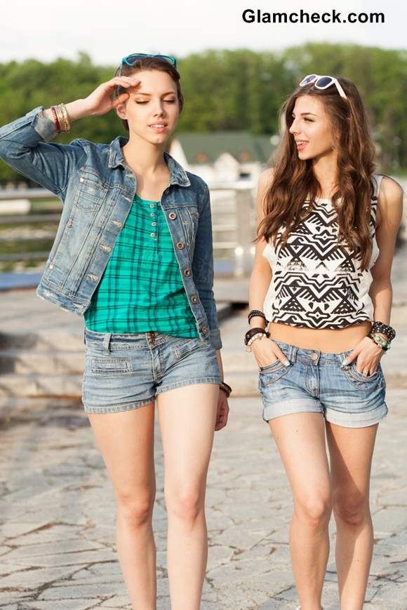 Wearing Denim shorts with Denim Jacket VS Singlet