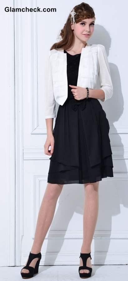 Wearing White Blazer with Black Dress