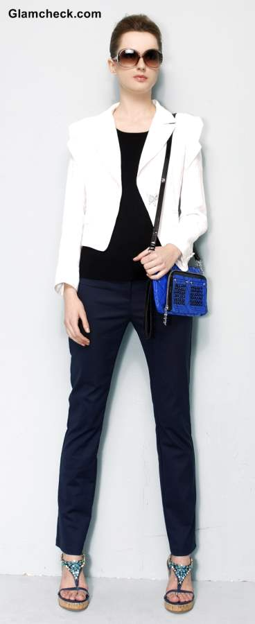 Wearing White Blazer with Black pants