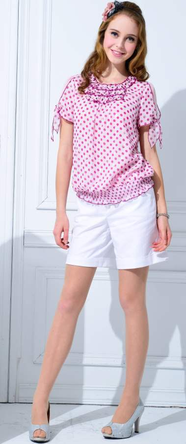 Wearing White Shorts and Peasant Top