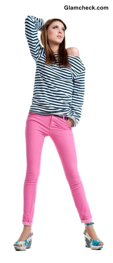 Wearing black and white stripes with Colored Denims