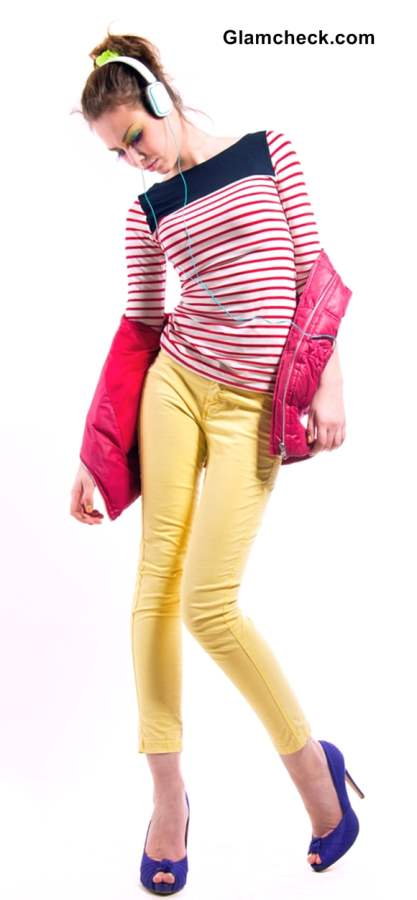 Wearing colored stripes with Colored Denims