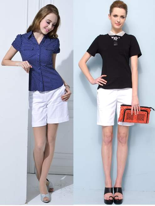 White Shorts with Collared Shirts or Tops