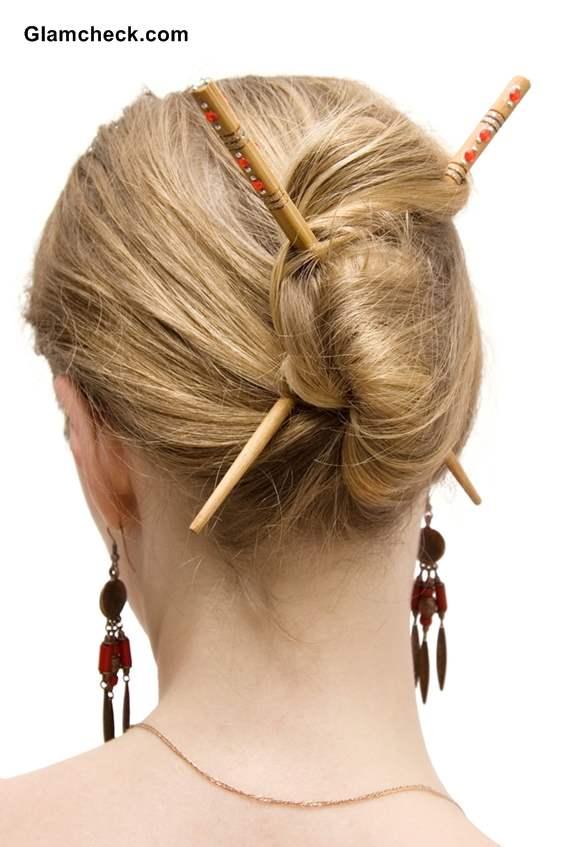 Classy Chignon with Asian Hair Sticks