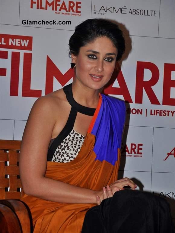 Kareena Kapoor in Sougat Paul Sari 2013 Filmfare Cover Launch