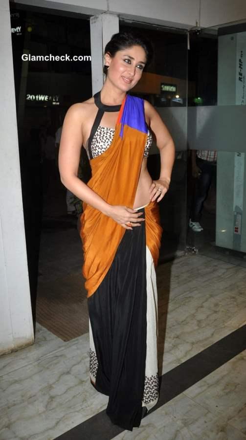 Kareena Kapoor in Sougat Paul Sari at Filmfare Cover Launch