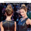 Natalia Borges In Criss-Cross Top Bun Hairstyle