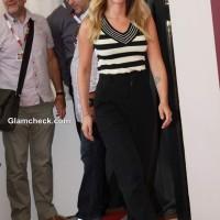 Scarlett Johansson in monochrome outfit 2013