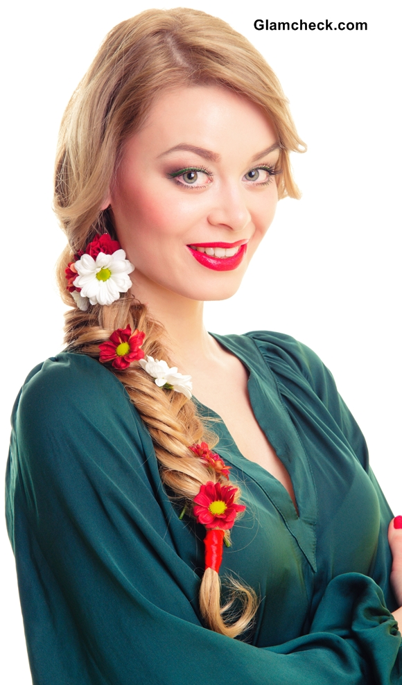 Side Fishtail Braid adorned with flowers