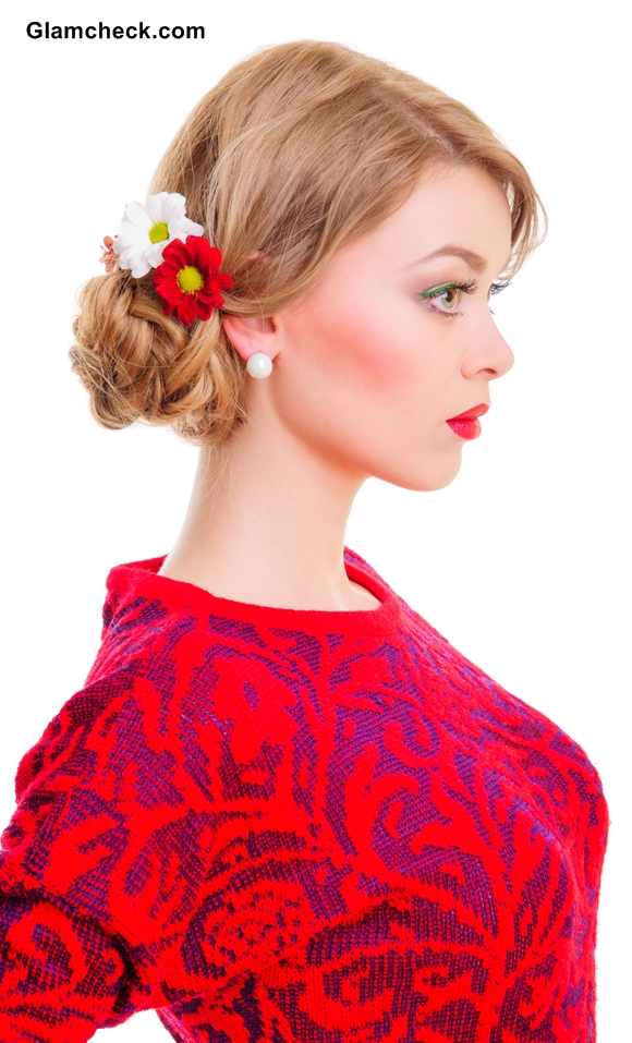 Side Fishtail Braided Bun adorned with flowers