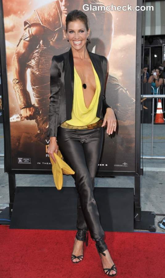 Tricia Helfer in a Plunging Cowl Neckline