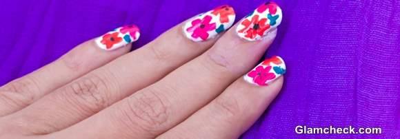 Tropical Nail Art DIY - Easy and Quick Flower Nail Art