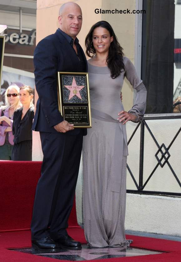 Vin Diesel Michelle Rodriguez at the Vin DIesel Walk of Fame Star Ceremony