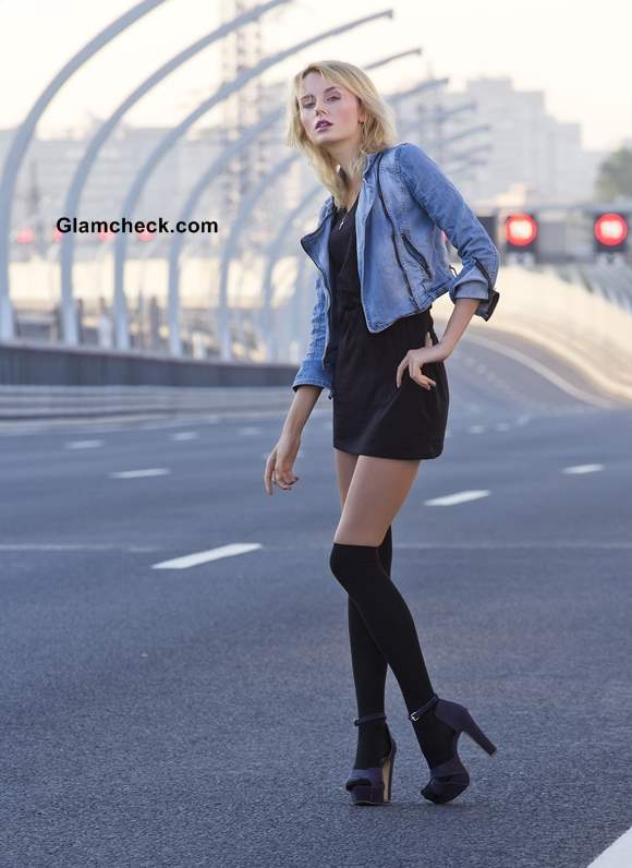 Wearing black dress with denim jacket
