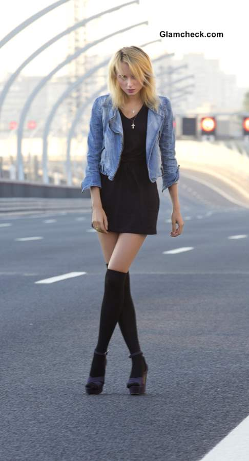 Wearing little black dress with denim jacket