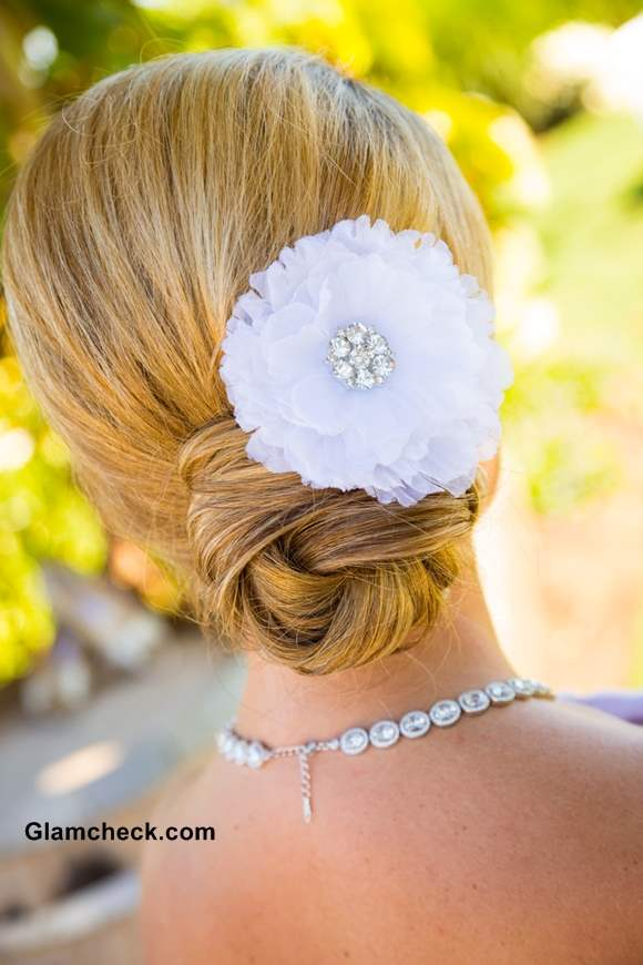 Wedding Hairstyle Floral Accessories with Chignon