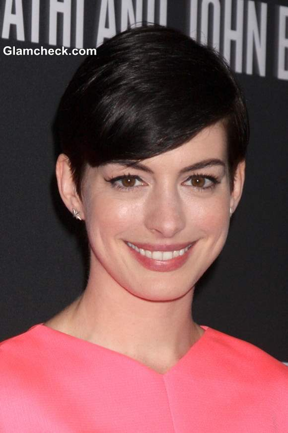Anne Hathaway In Winged Eyeliner And Pixie Hair