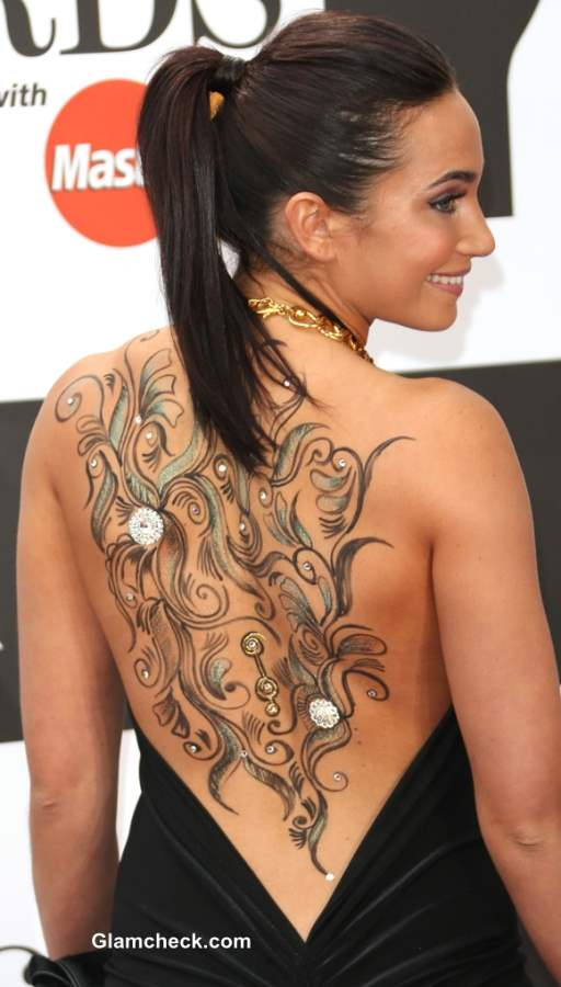 Back Tattoo Laura Wright Shows Off Sexy Body Art in Backless Dress