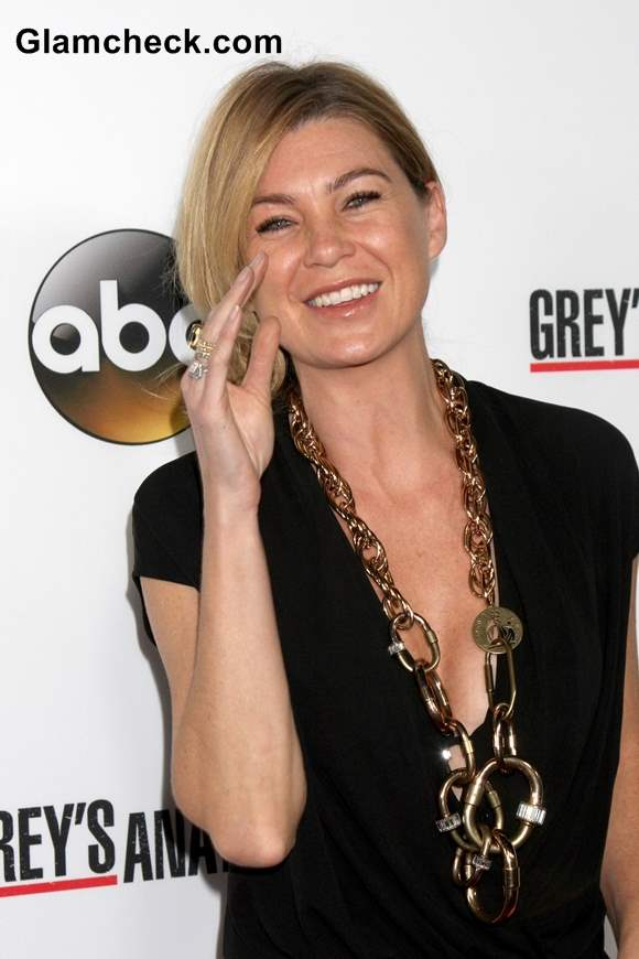 Ellen Pompeo Sports Statement Necklace at Greys Anatomy 200th Show Party