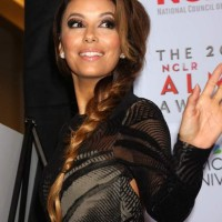 Eva Longoria Looks Pretty In Voluminous Side Plait at the 2013 ALMA Awards