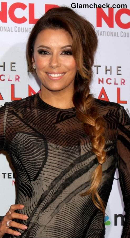 Eva Longoria Side Plait Hairstyle at the 2013 ALMA Awards